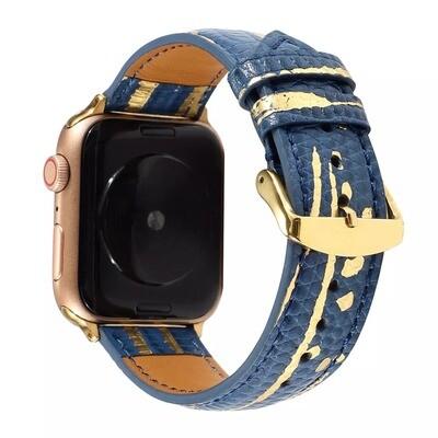 Luxury Splash Gold Genuine 𝐂ow Leather Strap for Apple Watch - Blue