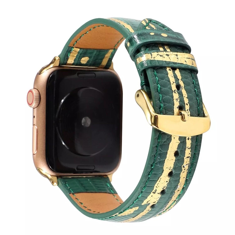 Luxury Splash Gold Genuine 𝐂ow Leather Strap for Apple Watch - Green