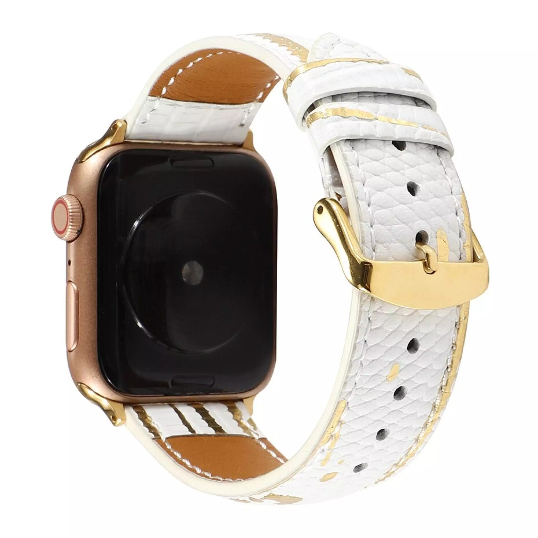 Luxury Splash Gold Genuine 𝐂ow Leather Strap for Apple Watch - White