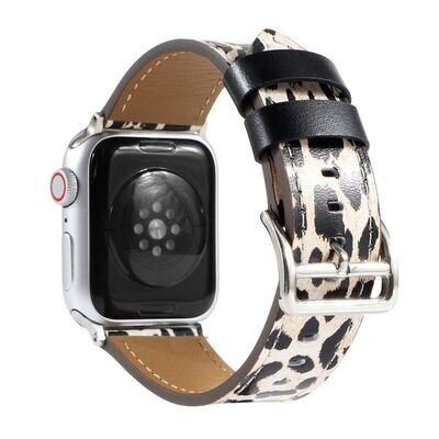 𝐋eopard Print Leather Strap for Apple Watch