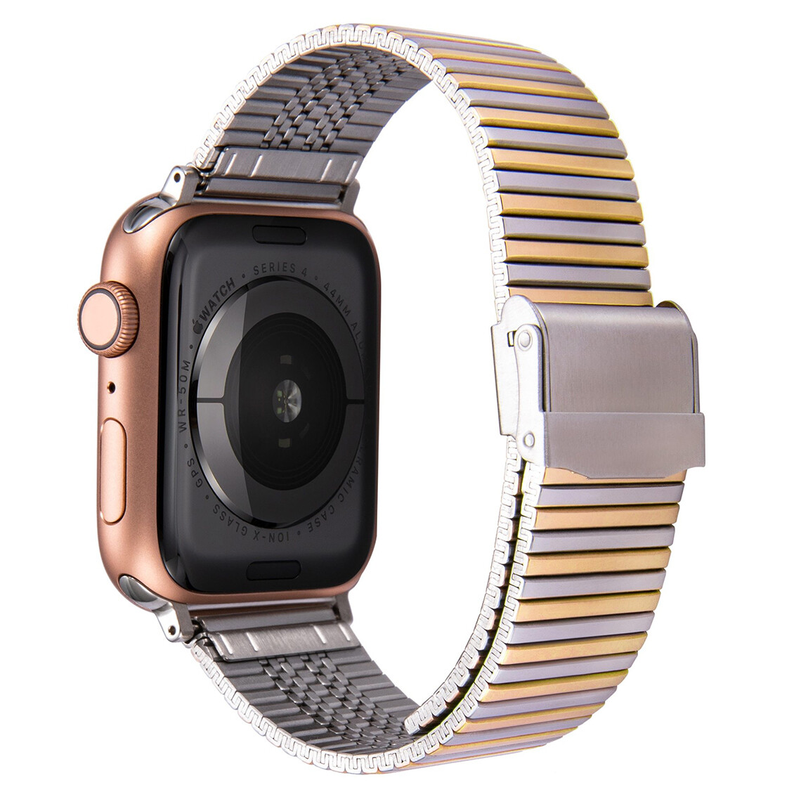 Premium Link Steel Strap for Apple Watch - Silver x Gold