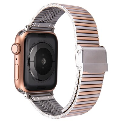 Premium Link Steel Strap for Apple Watch - Silver x Rose
