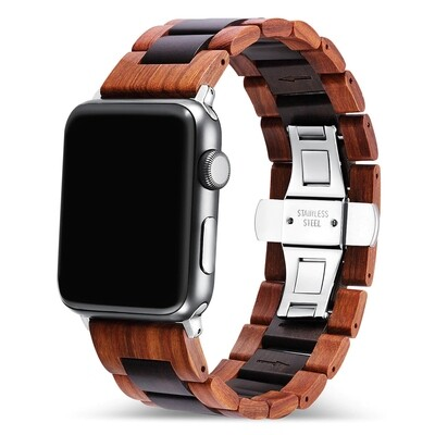 Engraved Wood Band for Apple Watch - Brown x Black