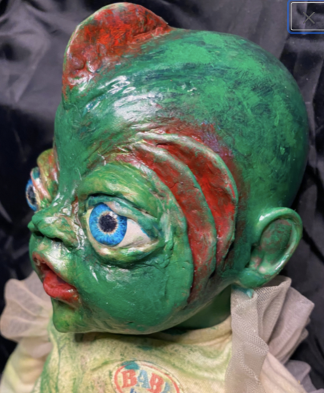 Creepy cute fish baby made to order halloween deco | Ooak Scary horror doll