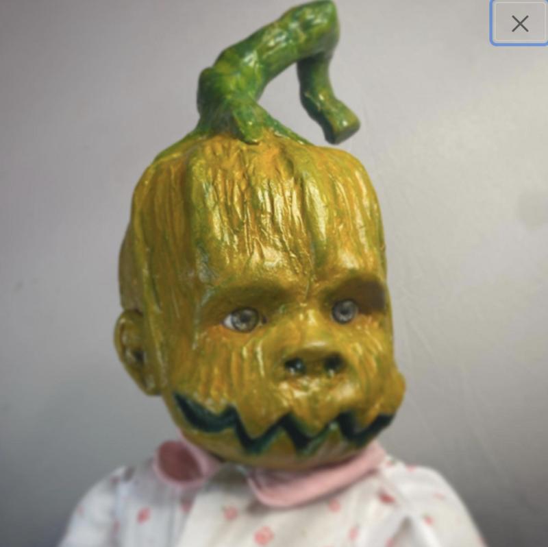 Scary Baby doll art. Pumpkin head. Made to order | halloween decor