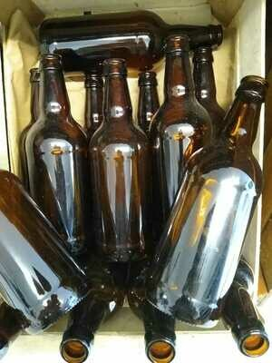 Recycled Amber Glass Beer Bottles
