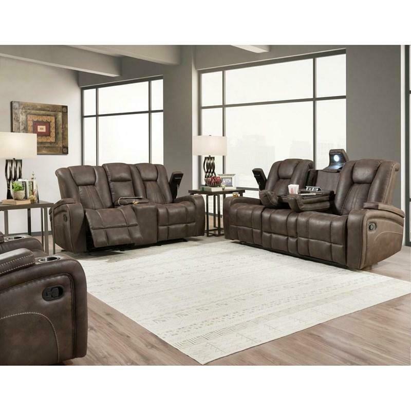 BI9990 Dual Reclining 2 Pc Jantzen Brown ( Sofa + Love)