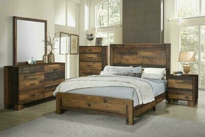 223141 Rustic Pine Queen 4Pc (Bed,Dr,Mr,Ns)