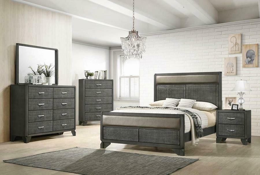 215901 Grey Queen 5PC (Bed,Dr,Mr,Ch,Ns)