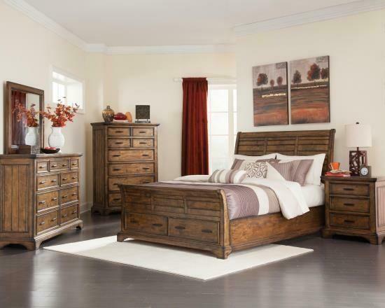 203891 Vintage Bourbon Queen 4Pc (Bed,Dr,Mr,Ns)