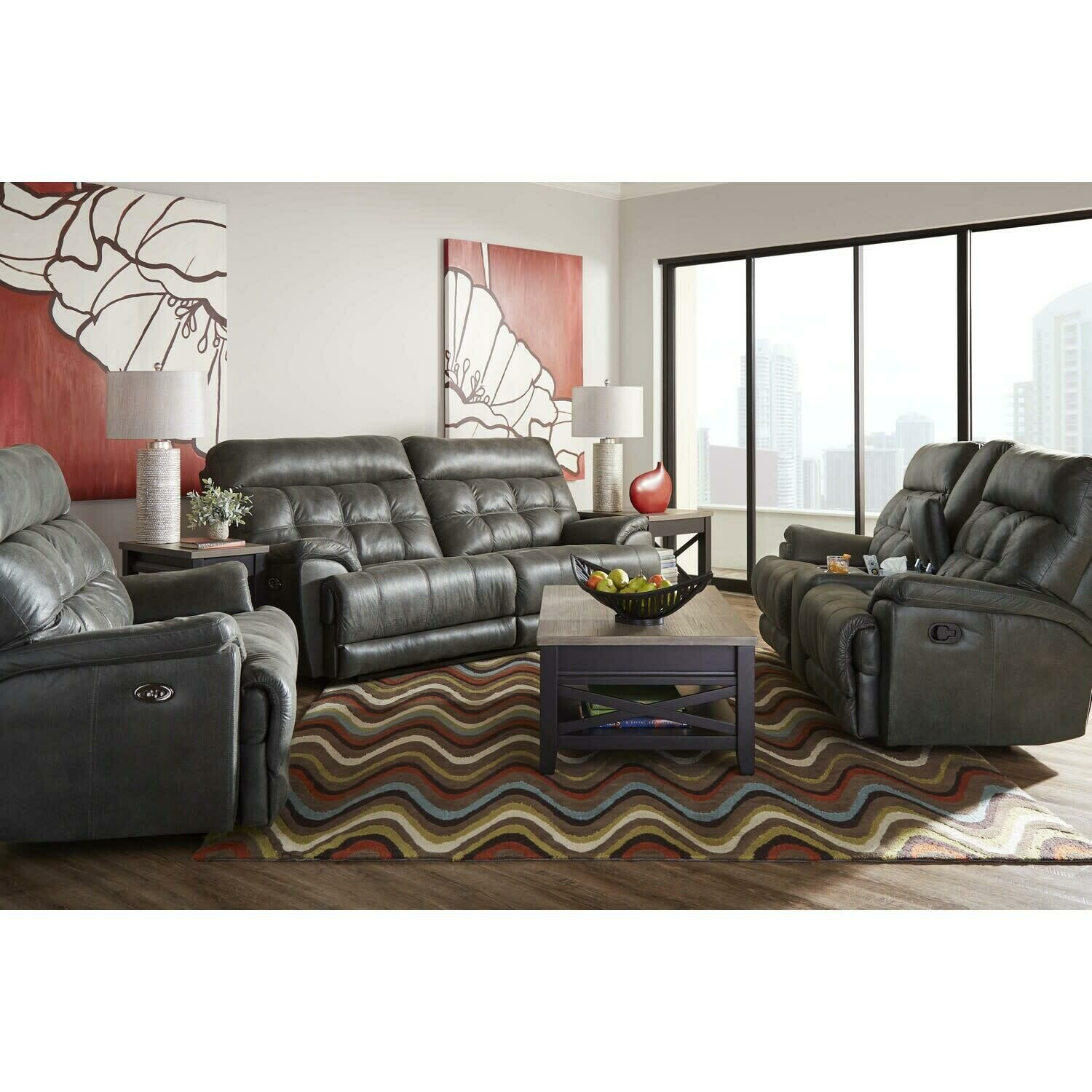 56500 Expedition Shadow Duel Reclining 3 Pc (Sofa + Love + Oversize Recliner