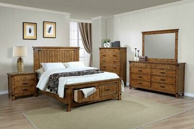 205260 Rustic Honey King 4Pc (Bed,Dr,Mr,Ns)