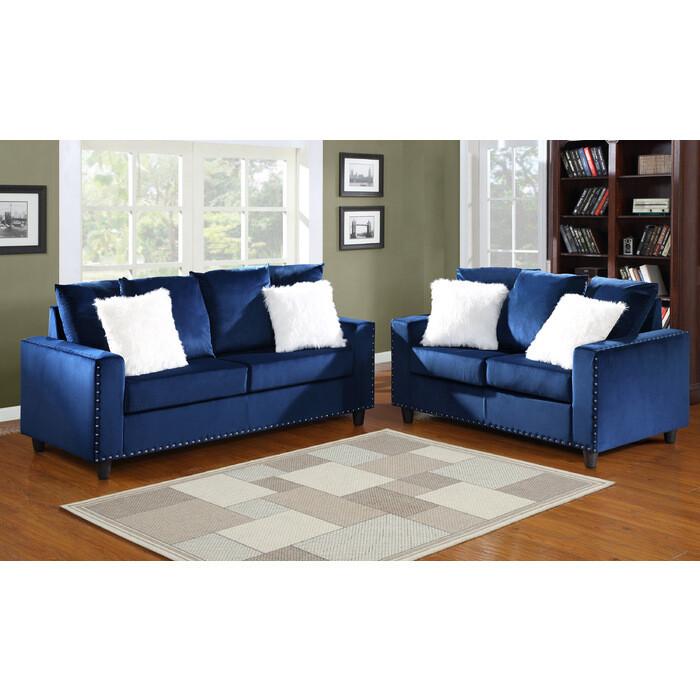 Blue 2Pc (Sofa + Love)