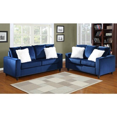 Blue 2Pc (Sofa + Love)