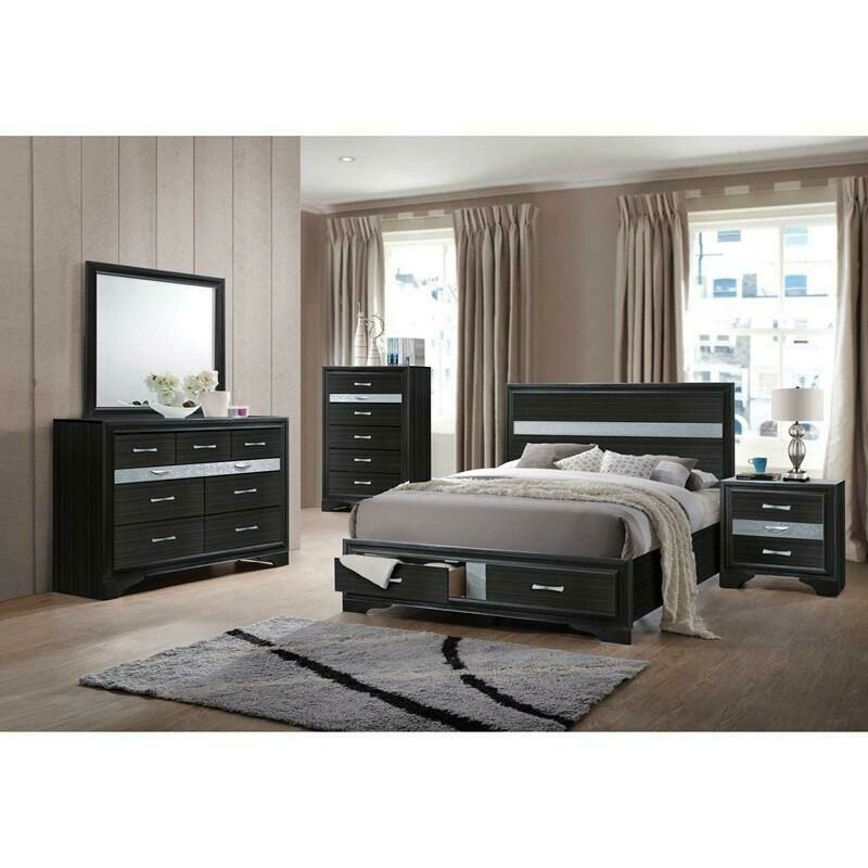 2590 Black/Silver Queen 4 Pc (Bed,DR,MR,NS)