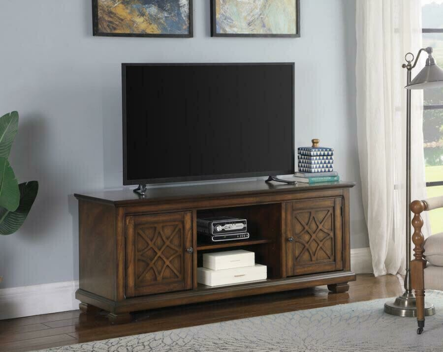 708132 2-Door TV Console Golden Brown