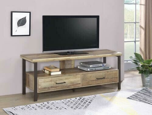 59″ 2-drawer TV Console Weathered Pine