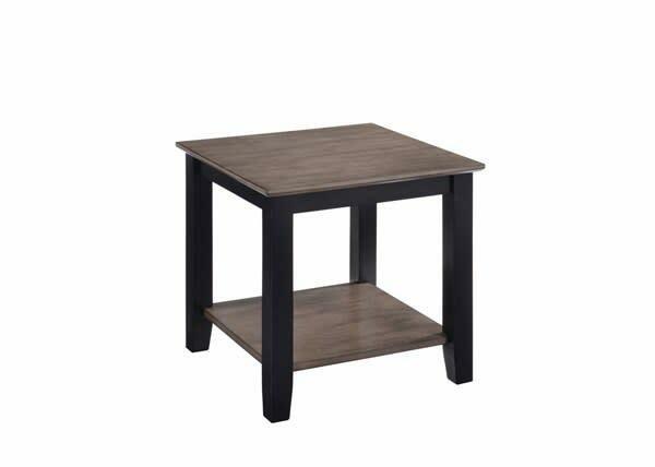 7502-47 END TABLE GREY/BLACK W/SHELF