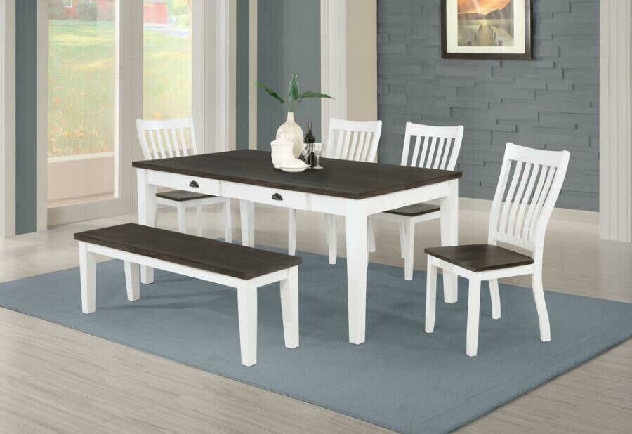 109541 6 Pc Espresso and White Table/4 Chairs/Bench