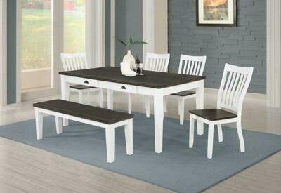 Kingman 5-piece Rectangular Dining Set Espresso and White