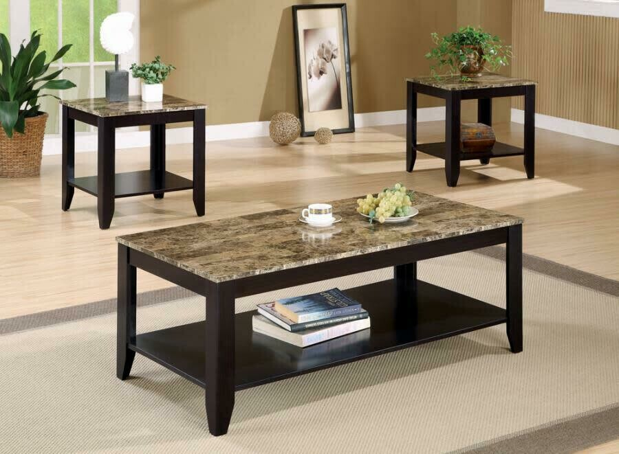 700155 3Pc Coffee End Table Set Faux Marble