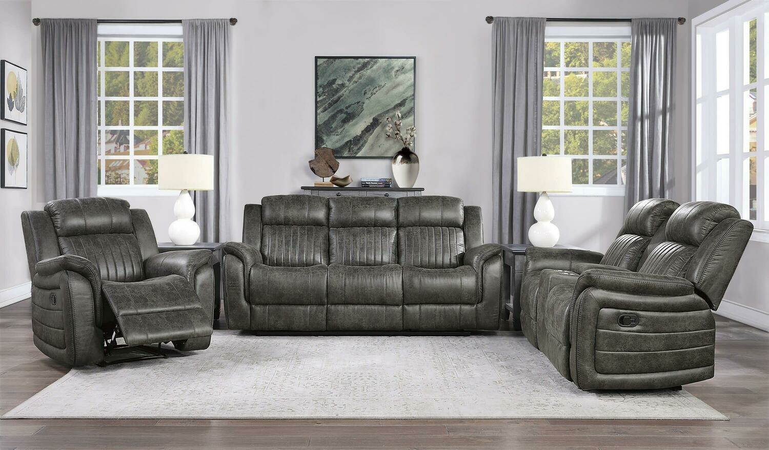 9479 Center Oak Dual Reclining 2 Pc (Sofa + Love)