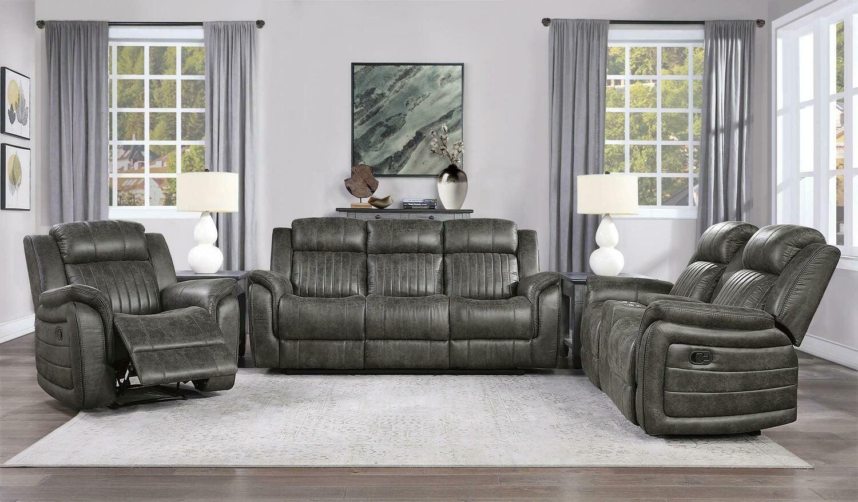 9479 Center Oak 3 Pc (Sofa+Love+ Recliner)