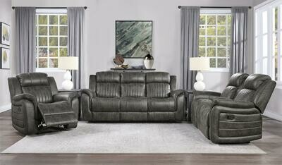 9405 Center Oak 3 Pc (Sofa+Love+ Recliner)