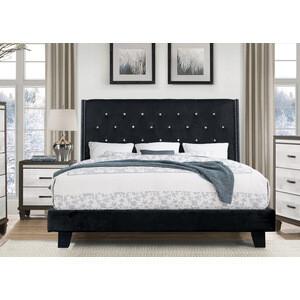 SH283BLK-1 QUEEN VELVET PLATFORM BED, BLACK
