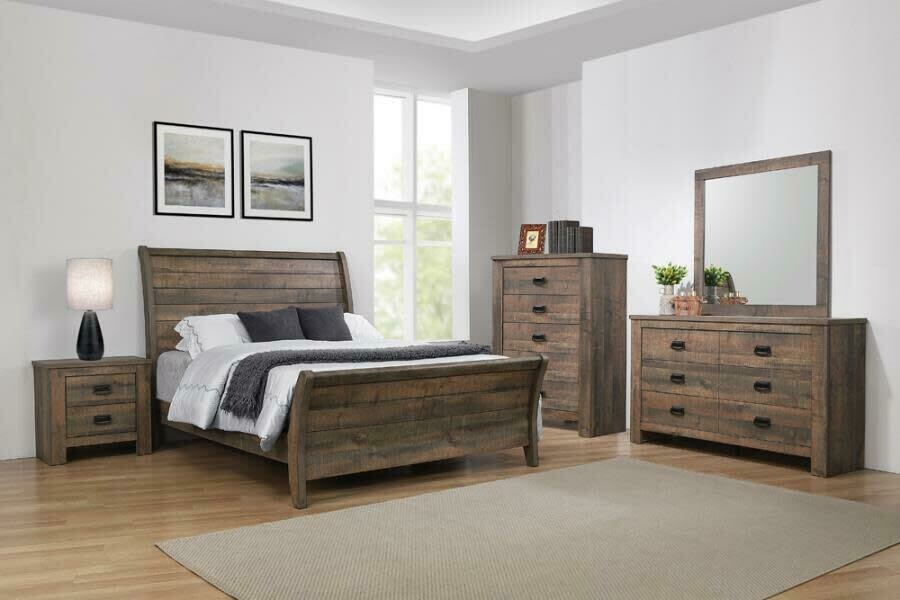 222961 King Weathered Oak Bed