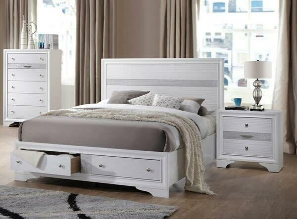 25767/68/69 KIng White Storage Bed