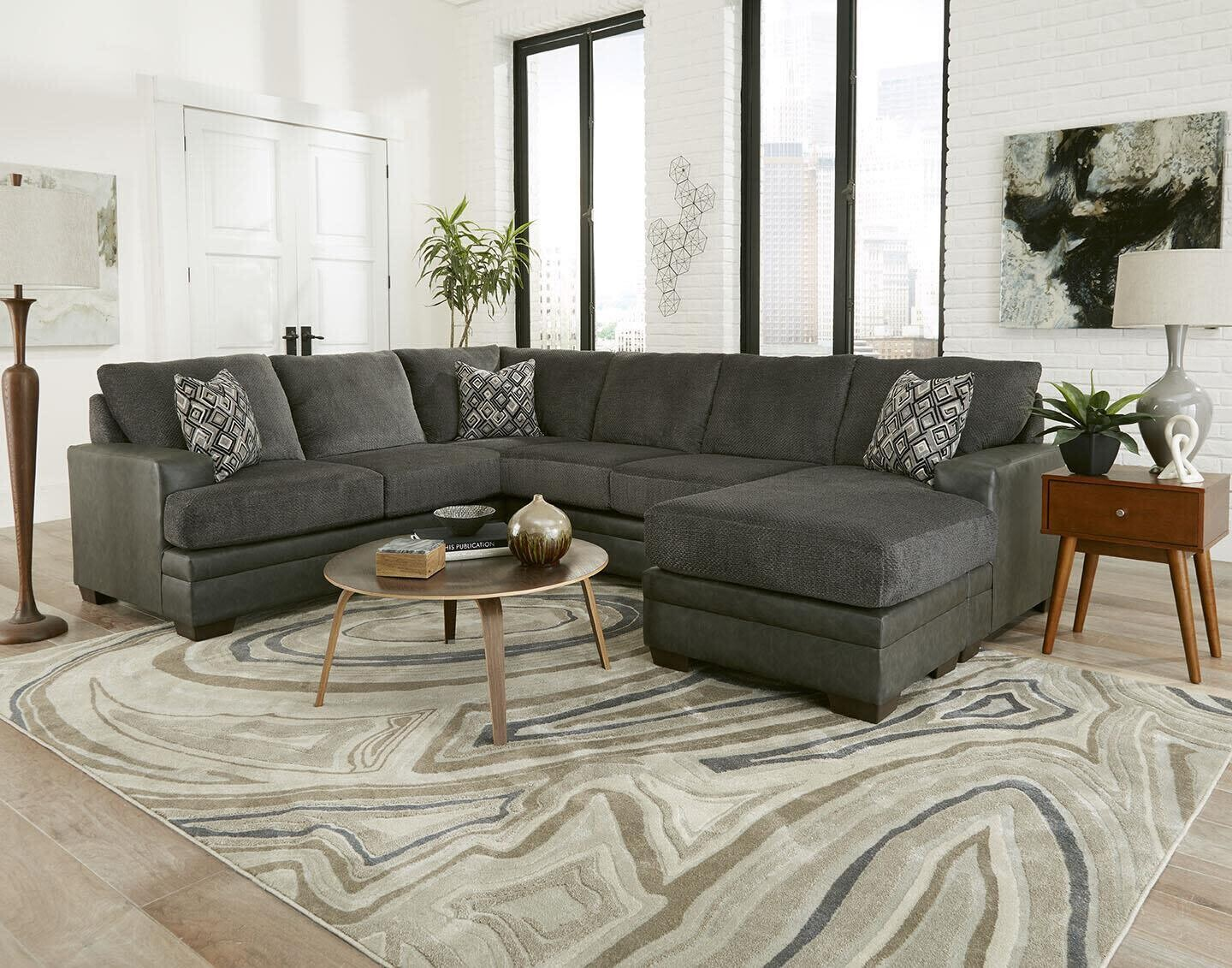 Delta 2720 Stallion Charcoal 3Pc Sectional