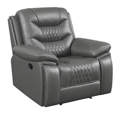 610206P Flamenco Tufted Upholstered Power Recliner Charcoal