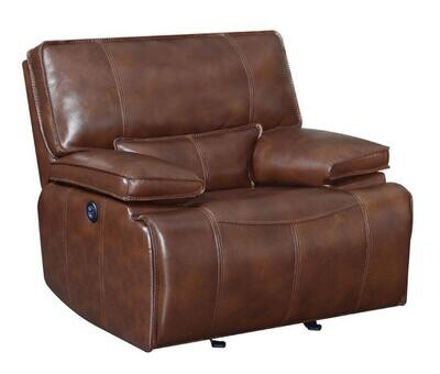610413P Southwick Pillow Top Arm Power Glider Recliner Saddle Brown