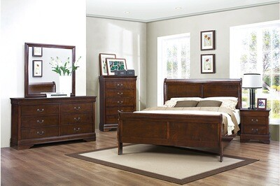 2147  4 Pc King Cherry Sleigh Bed Set