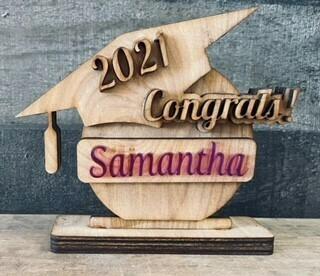 Custom graduation cap wood burned
