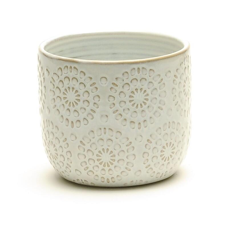 """4"""" Ceramic cream embossed pot"""