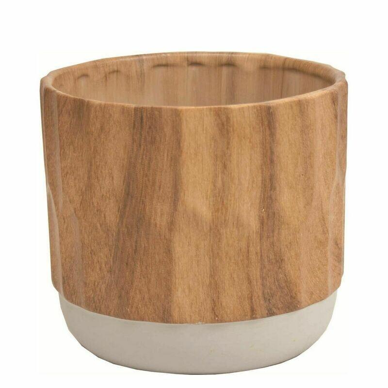 "Wood Look Ceramic Pot - 4"""