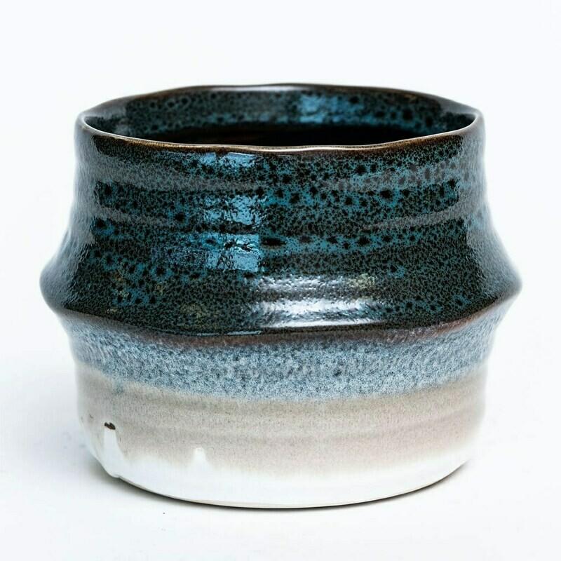 "Blue Glazed Ceramic Pot - 4"""
