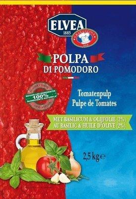 Tomaten pulp met basilicum 4 kg zak