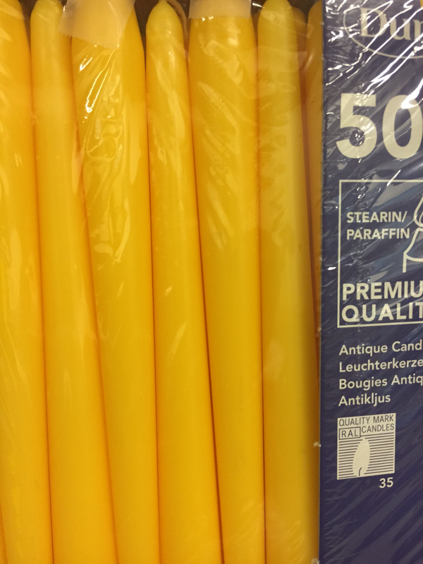 Duni kaars geel 50st