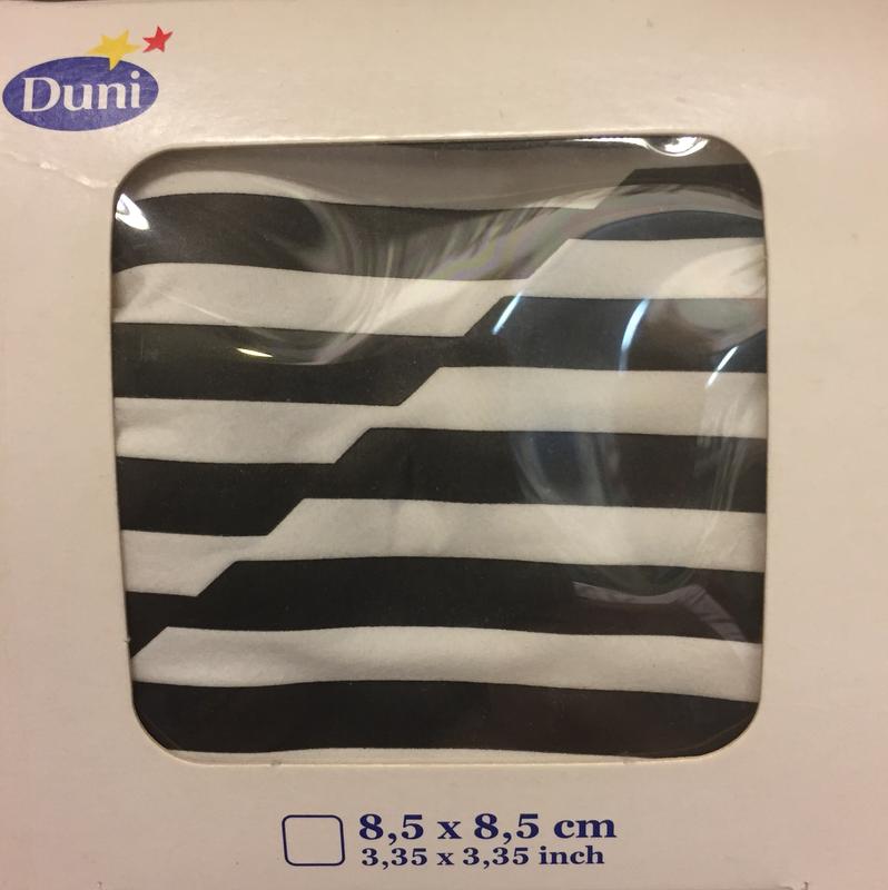 Druppelvanger black/white 8laag 8,5 x 8,5 cm  250st