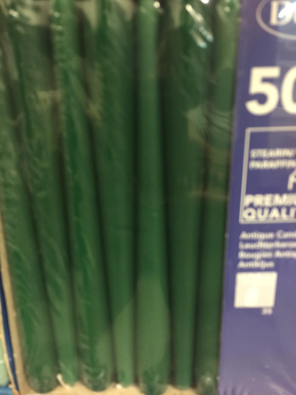 Duni kaarsen donker groen 50st
