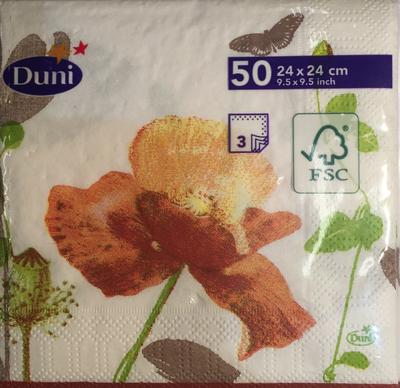 Duni servetten poppy 3 laag 24 x 24cm 50st