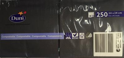 Duni servetten black 3lg 24 x 24cm 250st