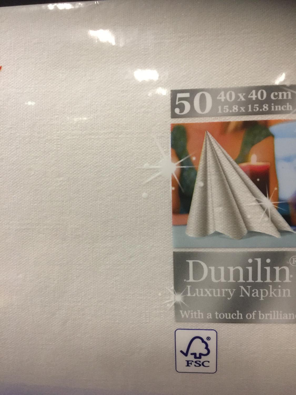 Dunilin servetten wit brilliance 40 x 40cm 50st