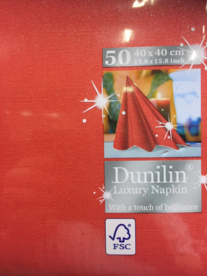 Dunilin servetten rood brilliance 40 x 40cm 50st