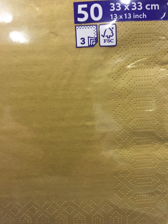 Duni servetten goud 3lg 33 x 33cm 50st