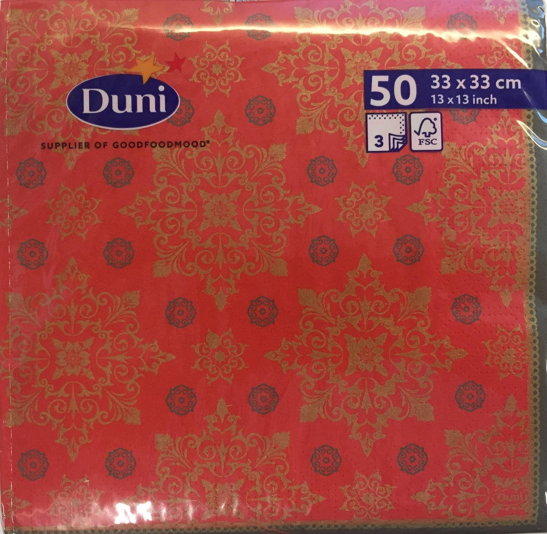 Duni servetten XMAS deco red 33 x 33cm 3 laag 50st