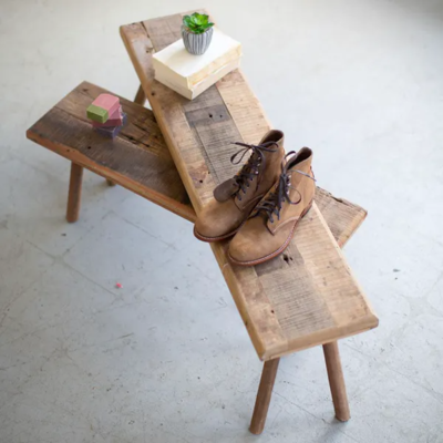 Set of 2 Rustic Wooden Benches